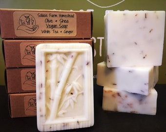 Handmade Vegan Soap - White Tea  Ginger Handcrafted Artisan Soap, Bamboo Soap