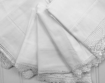 Vintage Pillowcases - All Cotton - White with Crochet Trim - Set of 6 - All White Bedding - Handmade Cases - Cotton Bedding