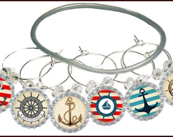 Nautical Wine Charms, Beach Wine Charms, Boat Wine Charm, Glass Tags, Glass Markers, Hostess Gifts, Housewarming Gifts, Holiday Gift -8/pack