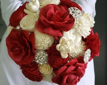 Red Rose Bouquet, Sola Rose Bouquet, Sola Flower, Wooden Bouquet, Wooden Rose, Rustic Bouquet, Alternative Bouquet, Wood Flower