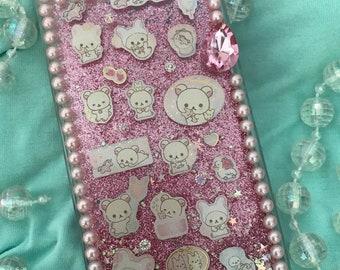 Kawaii Bear Glitter fall Case RTS