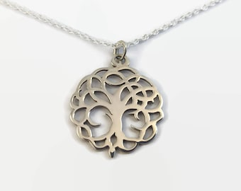 Sterling Silver Tree of Life Necklace - Silver nature pendant - A handmade pendant necklace with matching chain - Spiritual jewellery