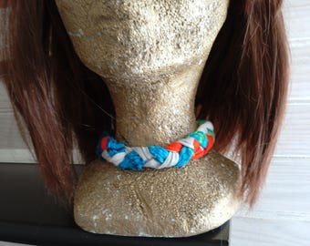 Recycled textile Choker and basketweave, colorful, trendy, cool, made, upcycling