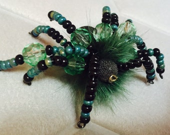 Spider spider beads Fur Wool brooch