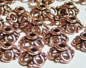 Solid Copper bead Cap 10mm / 1mm ID (Select Quantity)