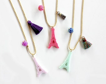 I love Paris Necklace, Eiffel Tower Necklace, Kids jewelry, Girls Jewelry, Party Favors, Gift, Paris Necklace, Paris Birthday, Girls Jewelry