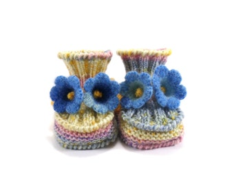 Knitted Baby Booties with Crochet Bell Flowers, Light Spring Pastels, 3 - 6 months
