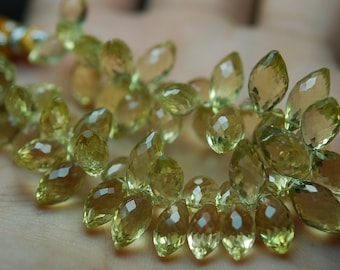Just New Arrival,25 Pcs, AAA Quality Lemon Quartz Faceted Dew Drops Shape Briolettes,7x14mm Long,Great Quality