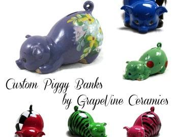 Ceramic Piggy Bank - Custom Ceramic Piggy Bank - Personalized Ceramic Piggy Bank