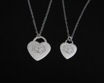 Sterling Silver Heart Necklaces. Matching Mother Daughter Necklaces. Family Jewelry. Sister Necklaces. Monogrammed Initial Necklace. Wedding