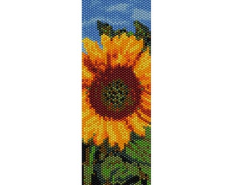 Sunflower Peyote Bead Pattern, Bracelet Cuff, Bookmark, Seed Beading Pattern Miyuki Delica Size 11 Beads - PDF Instant Download