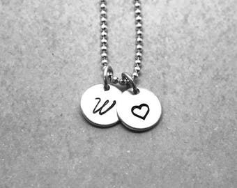 W Heart Necklace, Sterling Silver, Initial Necklace, All Letters Available, Hand Stamped Jewelry, Mother's Necklace, Personalized Jewelry