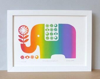 Elephant Print // Elephant Nursery // Elephant // Elephant Art // Elephant Wall Art // Elephant Art Print // Rainbow Gift / Elephants Gifts