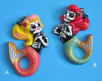 Day of the Dead MERMAID Art Wall Hanging - CUSTOM by Illustrated Ink - Choose Your Own Colors