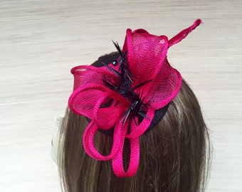 Sinamay Fascinator, Straw Fascinator,  Fuschia Fascinator, Cocktail Hat, Fascinator Hat, Bright Pink Headpiece