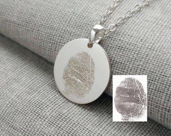 Personalized Fingerprint Necklace,Actual Finger Print Jewelry,Silver Fingerprint Memorial Necklace,Custom Silver Thumbprint Charm Necklace