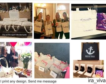 Personalized Bag, Canvas Tote Bag, Bridesmaid Tote, Bridesmaid Gift, Bride Tote, Wedding Bag, Custom Tote, Personalised Tote