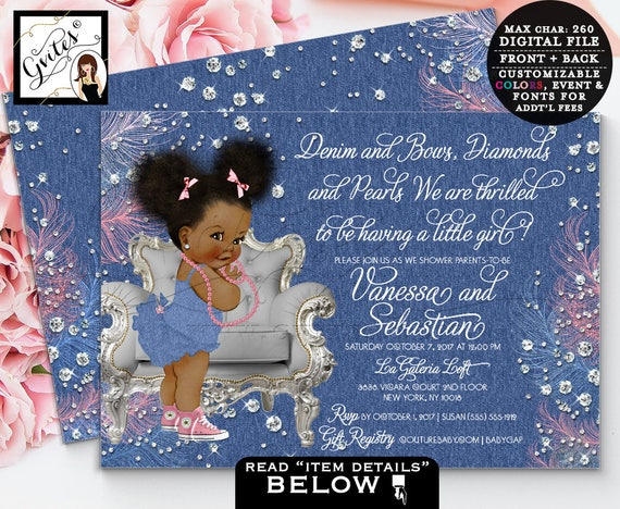 Denim And Diamonds Baby Shower Invitation Denim Bows Ribbons