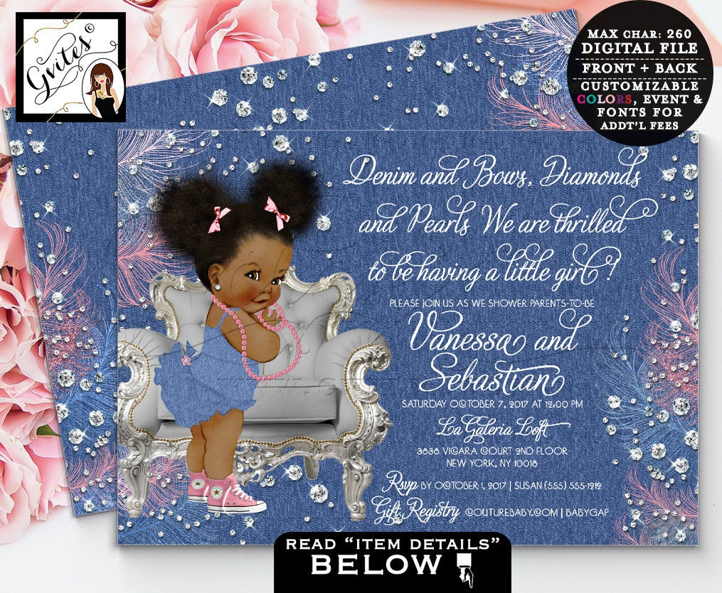 Denim And Diamonds Baby Shower Invitation, Denim Bows Ribbons And Pearls,  African American Girl, Pink Blue, Double Sided. Afro Puffs. Gvites