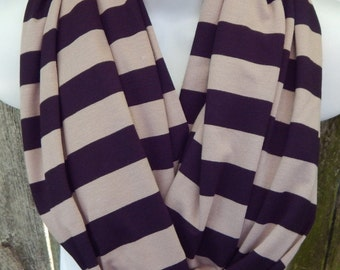 Tan and Black Large Stripes Infinity Scarf