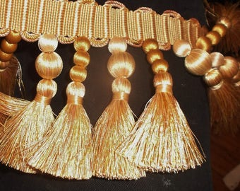 "Houles Paris tassel & bobble gold trim ""Aurore"" 1 3/4yd x 3 1/2"" New stock for pillows, drapes etc."
