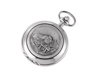 Steam Train Design Hunter Chrome & Pewter Pocket Watch - Personalised Engraved Message