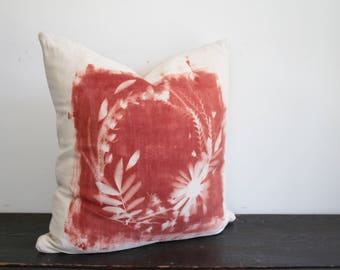 One of a Kind Modern Rust and Cream Hand Dyed Botanical Sunprint Canvas and Wool Throw Pillow