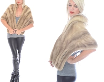 VTG Mutation MINK Real Fur Beige Wedding Cape Stole Jacket