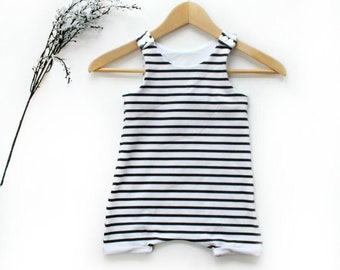 Black and White Stripe Romper Shorts / Baby Romper / Unisex Romper / Onepiece Outfit / Baby Toddler Romper / Monochrome Clothes / 0-2/3T