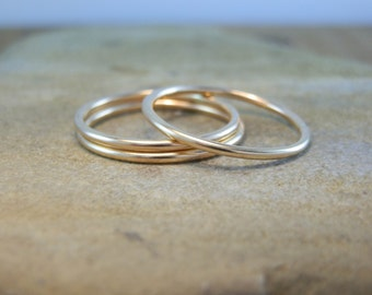 14 kt Yellow Gold Round Band - 1.2 mm Glossy Finish - Simple Gold Stacking Ring - Yellow Gold Band