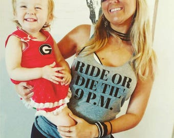 Ride or Die Til' 9pm, Workout Tank, Fitness Tank, Holiday Workout, Triblend Tank, Racerback Tank, Crossfit, Weightlifting, Weights, Gym