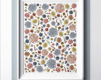 Floral Nursery Wall Art - Instant Download - Printable Art - Gender Neutral - Nursery Decor - Printable Nursery Art - DIY Print - Baby Art