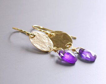 Amethyst Earrings by Agusha. Purple Gemstone Earrings. Gold Filled Dangle with Rose Cut Amethyst