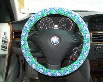 Nautical Ships Wheel and Anchors Steering Wheel Cover Vintage fabric