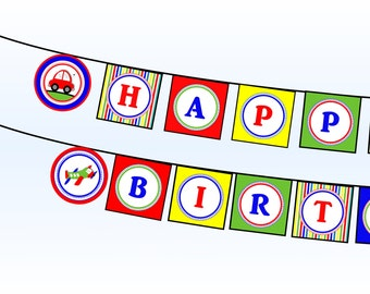 Planes Trains and Automobiles Happy Birthday Banner - Transportation Happy Birthday Banner - Printable INSTANT DOWNLOAD - Car Truck Plane