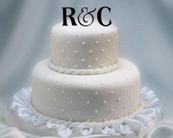 Monogram Wedding Cake Topper - two letter monogram wedding cake topper - mongram ampersand anniversary cake topper - letter cake topper