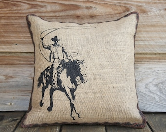 Burlap Pillow of Cowboy, Cushion, Throw Pillow, Western