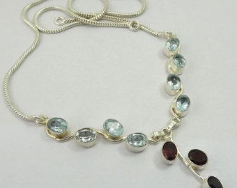 Garnet, Blue Topaz Necklace Plated with 925 Sterling Silver Jewelry Handmade Exclusive Designer