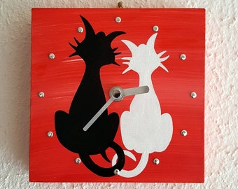 Mini Wall Clock Couple cats