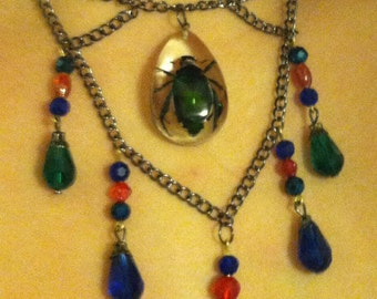 Blue and Green Beetle Bug Necklace