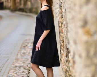 Handmade black linen dress, maxi dress, oversized dress, plus size dress, linen tunic dress, short sleeve dress