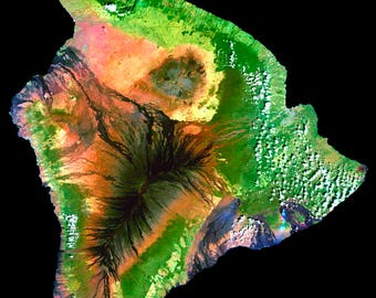 Poster, Many Sizes Available; Island Of Hawaii Landsat