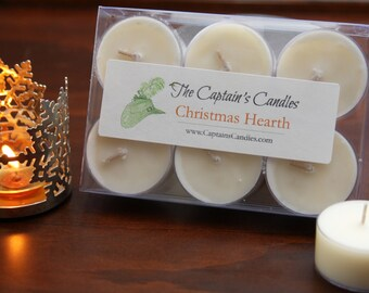 Christmas Hearth Scented Tealight Pack - Christmas Candle - Holiday Candle - 100% All Natural Soy Candles - Hand Poured - 6 pack or 12 pack