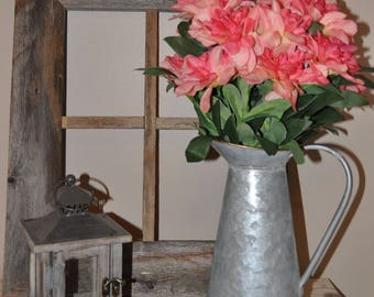 Rustic Galvanized Metal Pitcher, Galvanized Metal, Flower Decor, Rustic Metal Pitcher, Mixed Pink Dahlia Flowers, Spring Farmhouse Decor