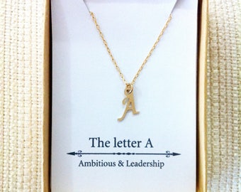 Letter A Necklace, Gold Initial Necklace, Dainty Necklace, Bridesmaids' Gifts, Personalized, Bridesmaids Necklace,Letter Necklace,Bridesmaid