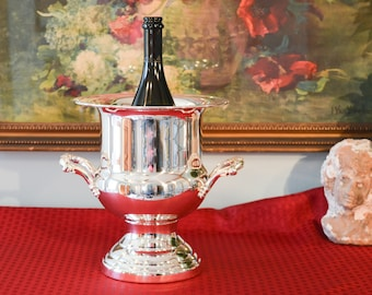 Silver Plate Wine Chiller - Trophy Style Champagne Chiller - Ice Bucket - Pedestal Base Ice Bucket - Wine Bottle Chiller - Silver Ice Bucket