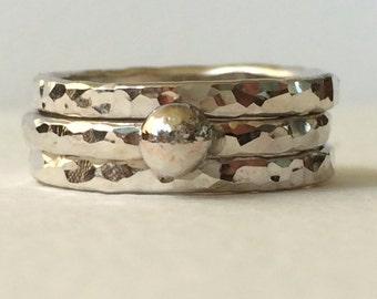 Silver stacking rings - Stacking rings - Stacking Rings Silver - Ring Set - Stacking rings set - Bridesmaid gift - wedding gift