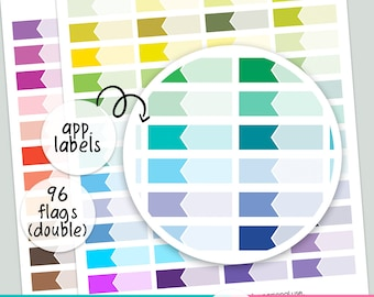 96 LABEL Appointment - Double   FLAGS   - PRINTABLE silhouette cut file , printable sticker planner,  printable planner stickers,