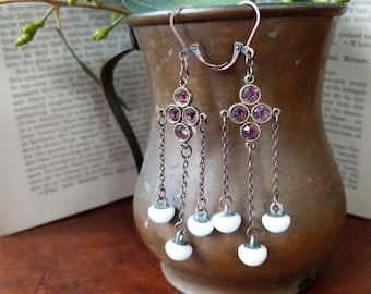Repurposed Purple and Porcelain Antique Earrings