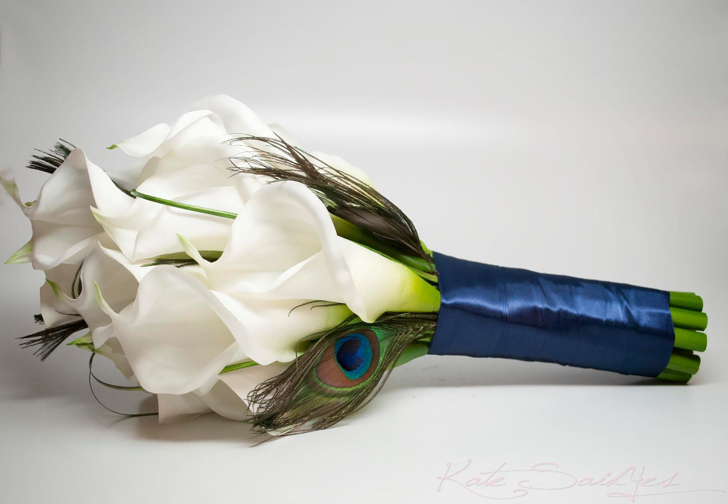 Peacock bouquet with large ivory calla lilies bridal bouquet zoom izmirmasajfo Choice Image